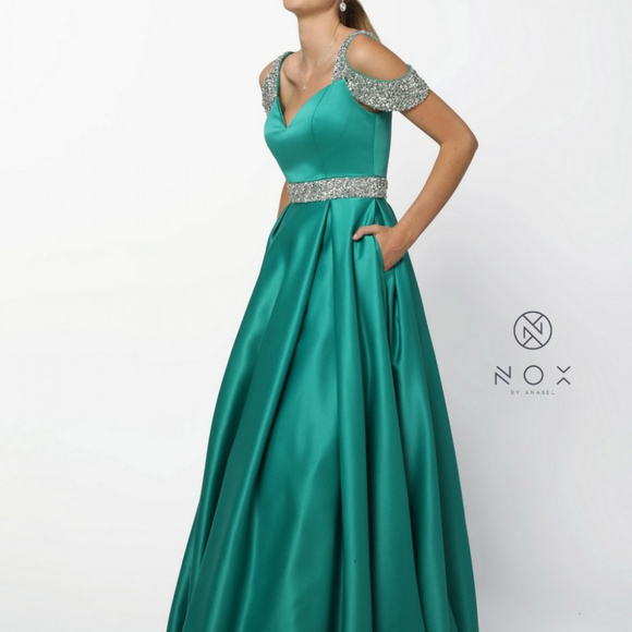 81ac9238054 Beaded Belt and Straps Long A-line Prom Dress R224